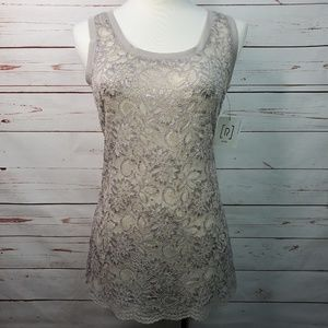 Relativity Sleeveless Lace Taupe Sheer Tank Top